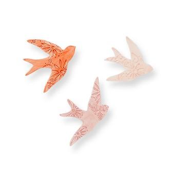 Earthenware Bird Wall Decor Pink (Set of 3) - Opalhouse™