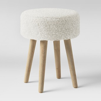 Sherpa Faux Fur Ottoman White - Threshold™