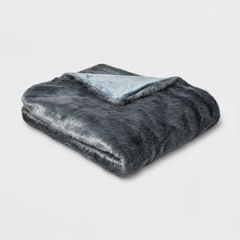 Faux Fur Throw Blanket Light Blue - Threshold™