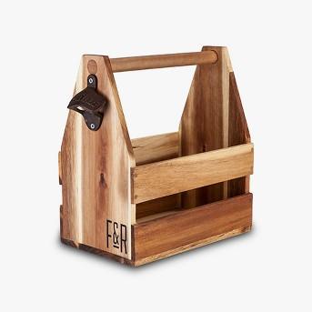 true Acacia Wood Beer Caddy - Brown