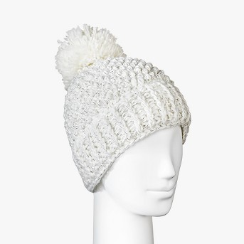 Women's Fleece Lined Marled Faux Fur Pom Beanie - Universal Thread™