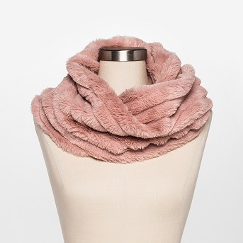 Women's Ribbed Faux Fur Snood Scarf - Estee & Lilly