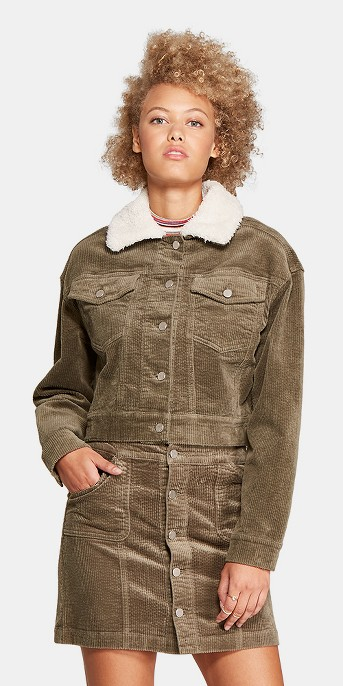 Women's Corduroy Sherpa Collar Jacket - Wild Fable™ Olive