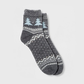 Women's Tree Double Lined Cozy Ankle Socks - Gilligan & O'Malley™ Navy One Size