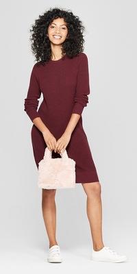 Women's Long Sleeve Crew Neck Sweater Dress - A New Day™
