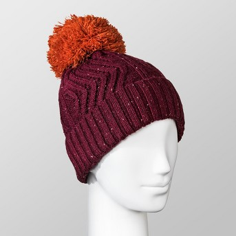Women's Fleece Lined Knit Ribbed Pom Beanie - Universal Thread™