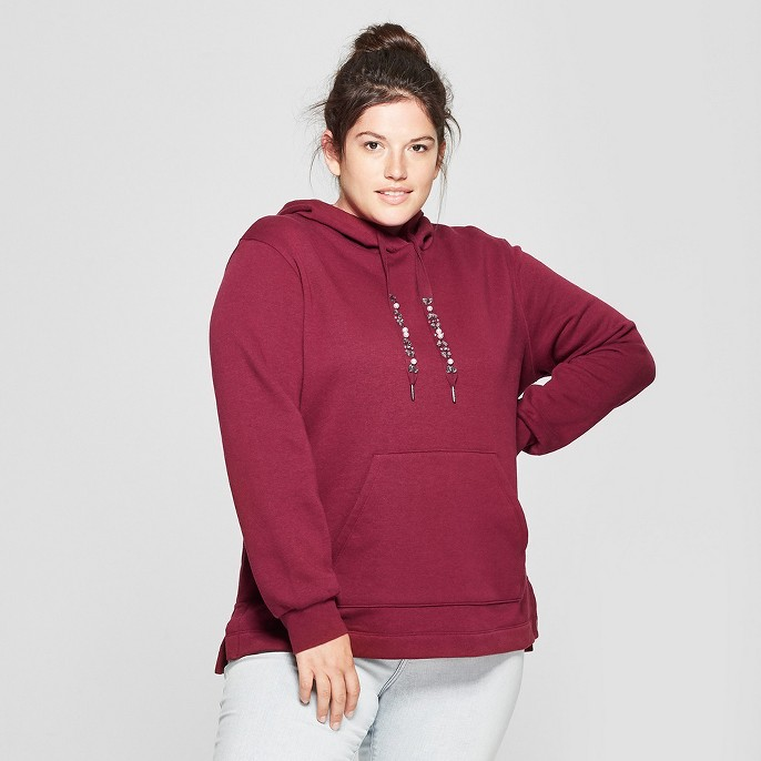 Women's Plus Size Embellished Pullover Hoodie - Ava & Viv™
