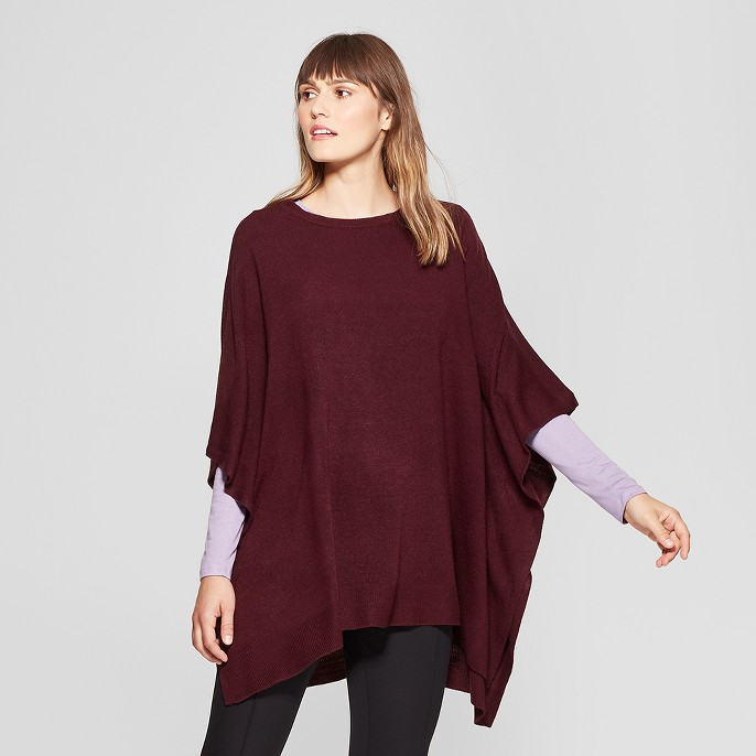 Women's Boatneck Knit Poncho Sweater - A New Day™