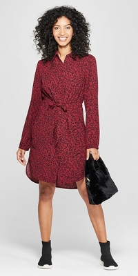 Women's Animal Print Long Sleeve Shirtdress - A New Day™ Burgundy