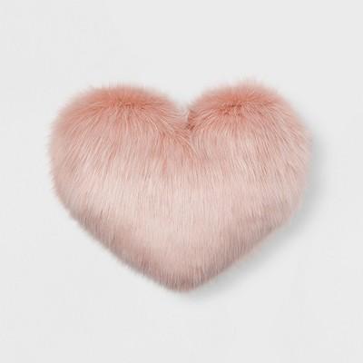 Faux Fur Oversized Heart Throw Pillow