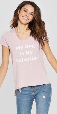 Women's Short Sleeve My Dog Is My Valentine Graphic T-Shirt - Grayson Threads (Juniors') Pink
