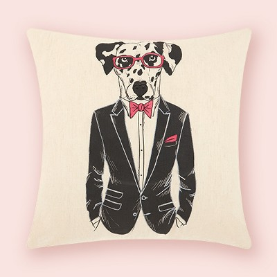 Cream Dogs Throw Pillow - Mina Victory