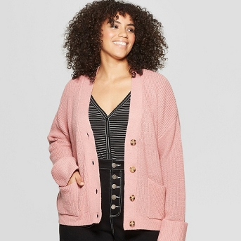 Women's Plus Size Long Sleeve Ribbed Cardigan - Who What Wear™
