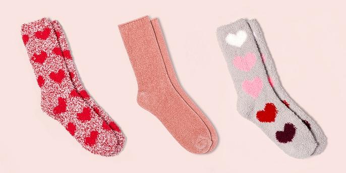 Women's Cozy Valentine's Day Crew Socks - Red One Size, Women's Chenille Cozy Crew Socks - Gilligan & O'Malley™ Pink One Size, Women's Cozy Valentine's Day Crew Socks - Color May Vary One Size