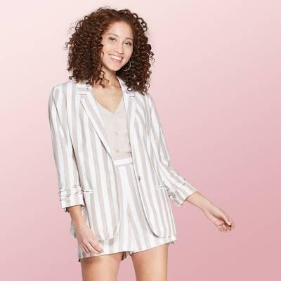 Women's Striped Long Sleeve Linen Blazer - A New Day™ Cream