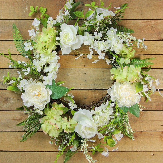 Northlight Peony and Rose Artificial Floral Spring Wreath, White and Green 24-Inch