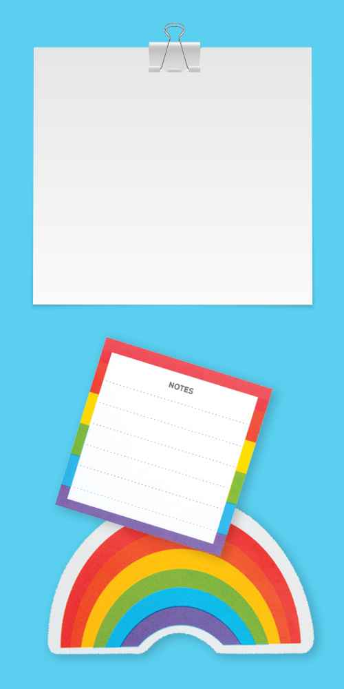 """Post-it 3"""" x 3"""" Printed Notes 2 Pads/Pack, 30 Sheets/Pad - Rainbow Design, Post-it List Pad, Post-it Motivation In A Box"""