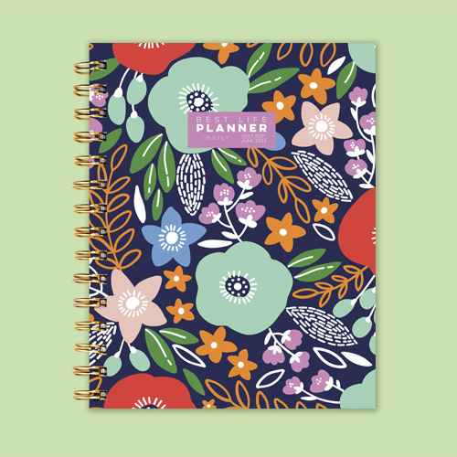 """2021-22 Academic Planner 9""""x7"""" Classic Floral Daily Luxe - The Time Factory, Lemon Desktop Standing Flip Calendar, Self-Standing Standup Daily Scheduler for Office Desk Home School, 8.7 x 3 inches, LEGO Flower Bouquet Building Kit 10280"""