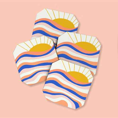 4pk Sunshine Canteen Sunrise Surf Coasters - society6, 4pk Showmemars Minimalist Rainbow Coasters - society 6