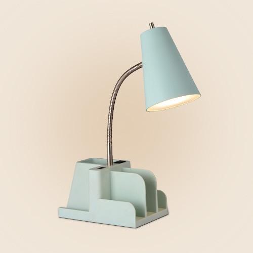 Organizer Task Lamp (Includes LED Light Bulb) Mint - Room Essentials™, Dual Head Metal Desk Lamp (Includes LED Light Bulb) Brass - Threshold™ designed with Studio McGee, Post-it Etc. List Notepad 100 Sheets - Blue