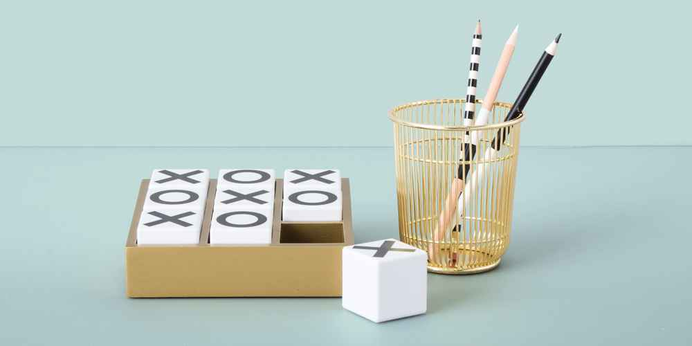 """Desktop Tic Tac Toe Game - Project 62™, Wire Pencil Cup Gold - Project 62™, 4"""" x 6"""" Pedestal Single Picture Frame Brass - Project 62™"""