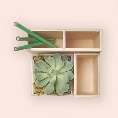 "Design Ideas Terrace Desk Supplies Organizer – Plywood Office Desktop Organizer – Wood, 5.5"" x 5.1 x 4.9"", Okuna Outpost Wooden Desktop Organizer with Drawers, 3 Tier Office Storage (12.7 x 10.7 x 8.7 In)"