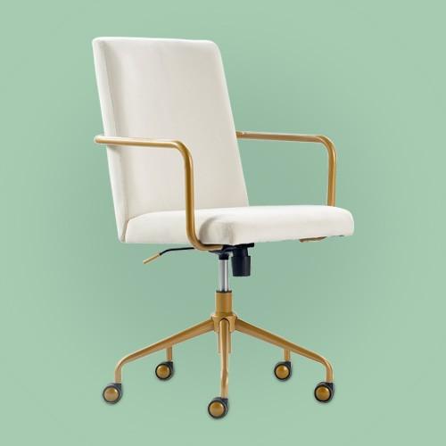 Giselle Gold Desk Chair French Cream Velvet - Adore Decor
