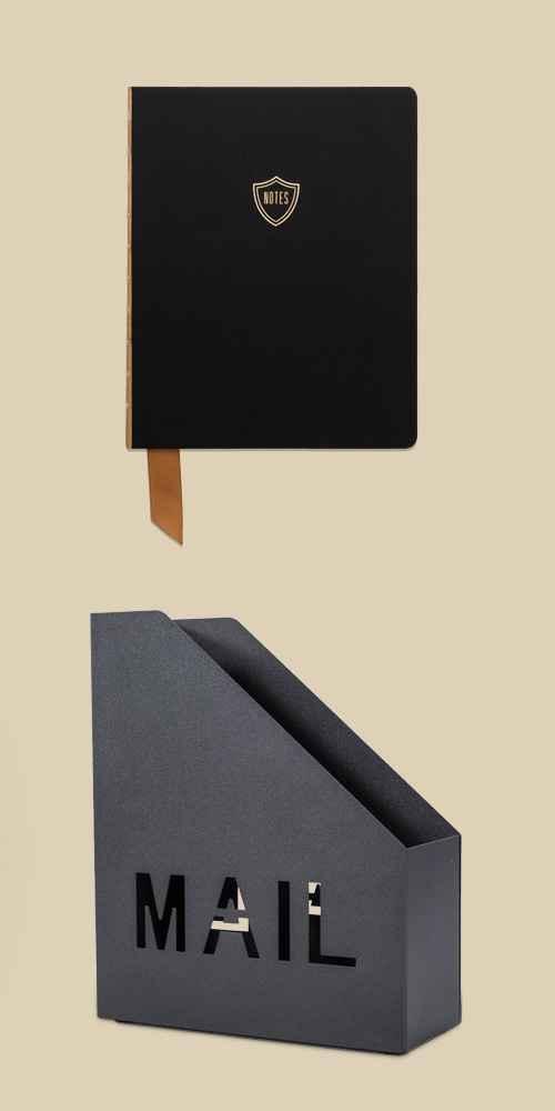 Ruled Journal Exposed Spine Satin Shield Notes Black - DesignWorks Ink, Metal Mail Holder Black - Project 62™, Desk Pad On My Desk