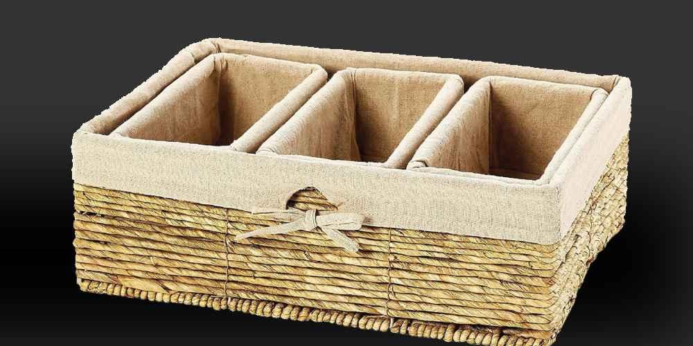 Nesting Storage Baskets, Wicker Basket (4 Piece Set), Decorative Figurine Fish Wooden