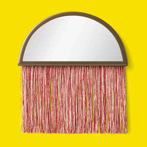 Macrame Fringe Wall Mirror Pink - Project 62™, Boho Rattan Table Lamp - Pillowfort™
