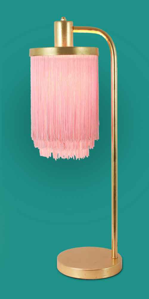 "26.5"" Framboise Fringe Shade Table Lamp Gold Leaf - Decor Therapy, 6.5"" x 6.25"" Pewter Mantel Clock Distressed Aqua - 3R Studios"