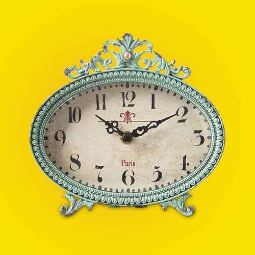 "6.5"" x 6.25"" Pewter Mantel Clock Distressed Aqua - 3R Studios"