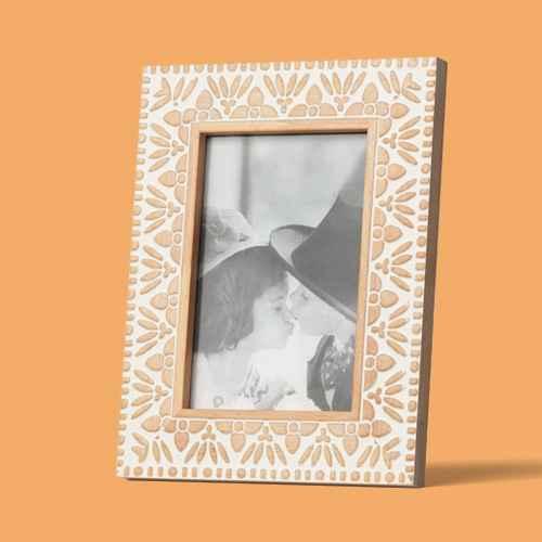 "4""x6"" Carved Wood Frame White - Opalhouse™, 4""x6"" Kazbah Resin Frame Cream - Opalhouse™"