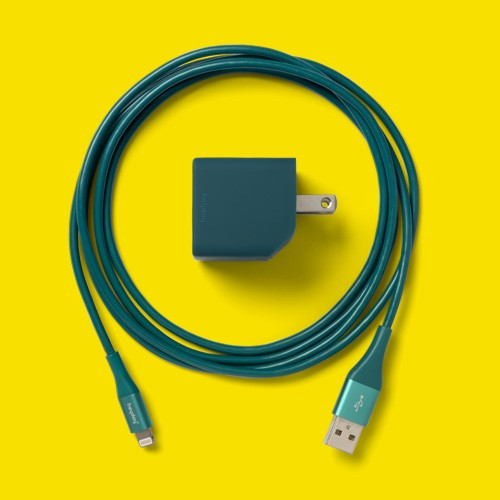 """heyday™ 2-Port Wall Charger USB-A to Lighting Cable Kit - Dark Teal, 4""""x4"""" Cast Sunburst Frame Gold - Opalhouse™"""