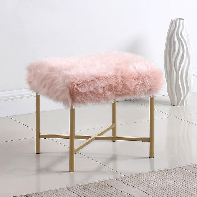 Faux Fur Square Ottoman - Pink - HomePop