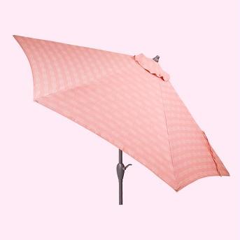 9' Round Stagger Stripe Patio Umbrella Terracota - Ash Pole - Project 62™