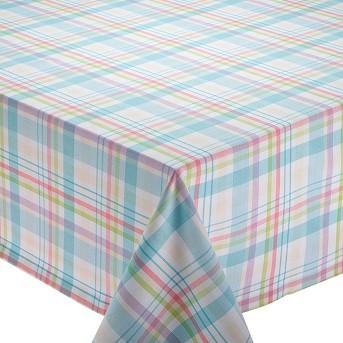 Blue Easter Basket Plaid Tablecloth - Design Imports