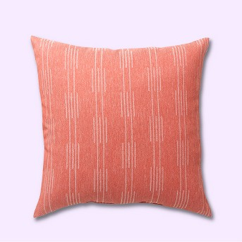 2pk Square Stagger Stripe Outdoor Pillows Terracotta - Project 62™