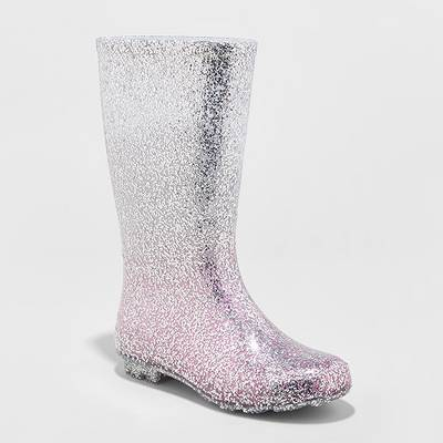 Girls' Evelyn Glitter Rain Boots - Cat & Jack™ Silver
