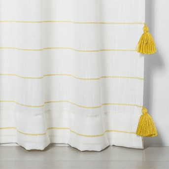 Contrast Stripe Light Filtering Curtain Panel with Tassels - Opalhouse™