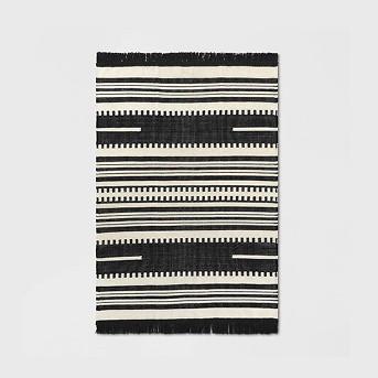 Sylviidae Stripe Woven Rug Black - Opalhouse™