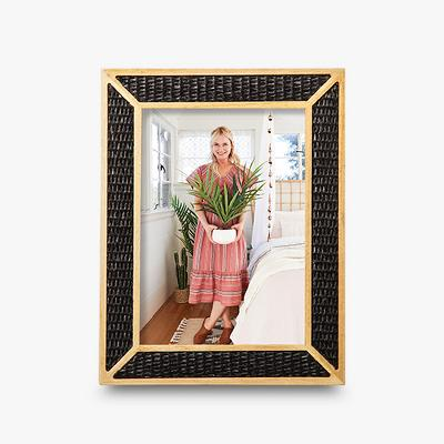 """5""""X7"""" Natural Wood Overlay Frame With Woven Bamboo Black - Opalhouse™"""