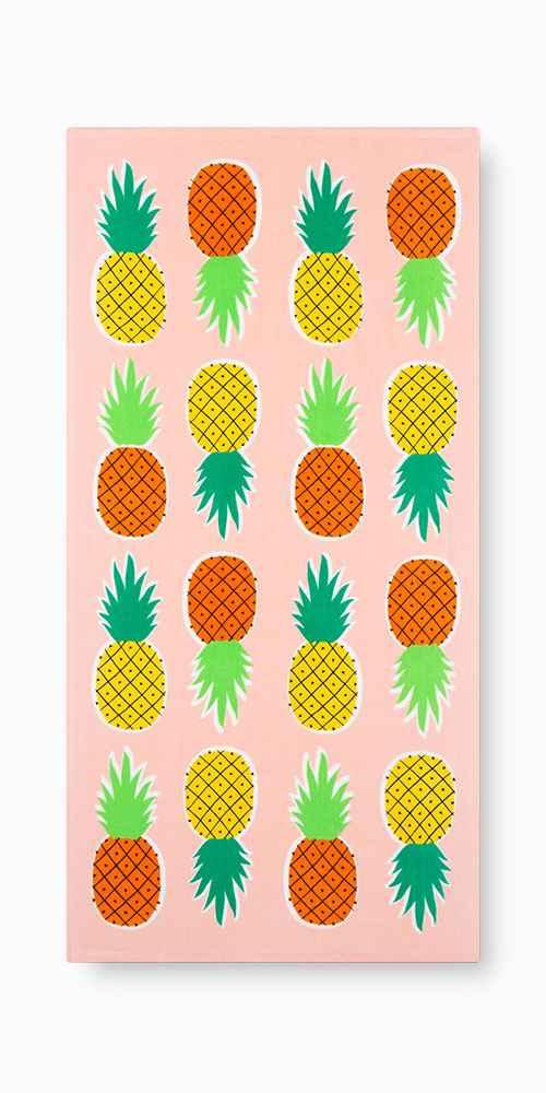 Printed Pineapple Beach Towel Pink - Sun Squad™
