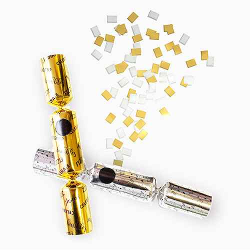 6ct Confetti Popping Silver & Gold Celebrate Party Favours - Crackertoa