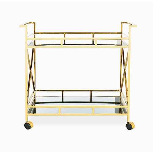Kehlani 2 Shelf Bar Cart Jade/Gold - Safavieh