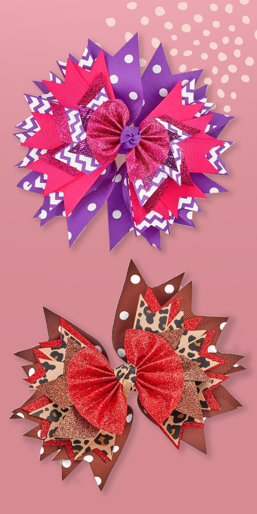 Lily Frilly Hair Bow - Purple, Lily Frilly Hair Bow - Leopard