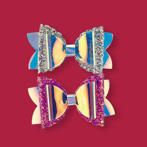 Lily Frilly Glitzy Mermaid Clips - Hot Pink/Silver - 2pk