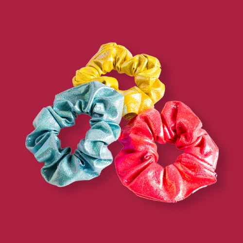 Lily Frilly Faux Leatherette Scrunchie Set - Yellow/Pink/Blue
