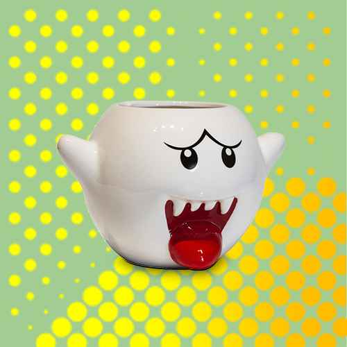 Just Funky Super Mario Bros White Boo Molded Coffee Mug | 20 oz