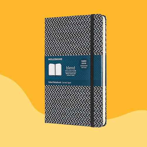 Moleskine Patterned Lined Composition Journal with Elastic Closure Black/White